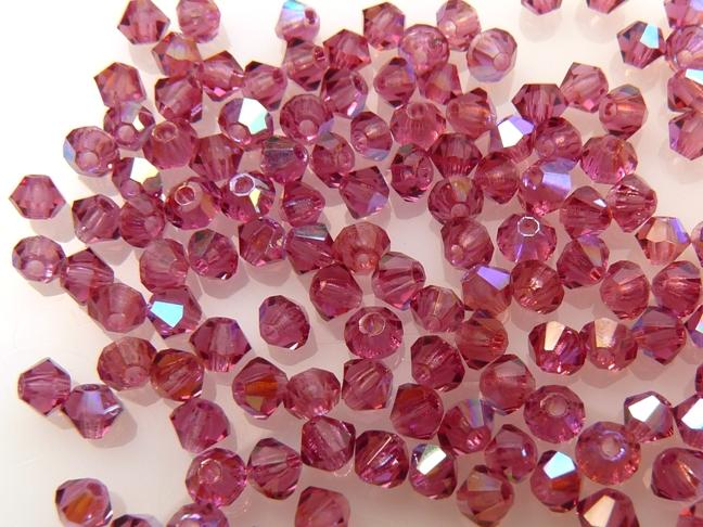 03-MC-70350-28701 Bicones Fuchsia met AB 3 mm. 50 St-0