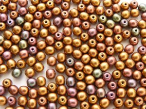 04-R-00030-01640 Silky Metallic Purple Gold Mix round 4 mm. 120 Pc.-0