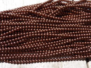 04-132-19001-70819 Shiny Chocolate Glass Pearl 4 mm. 120 Pc.-0
