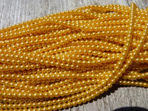 04-132-19001-70081 Shiny Yellow Glass Pearl 4 mm. 120 Pc.-0