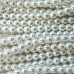 04-132-19001-70400 Shiny Bright White Glass Pearl 4 mm. 120 Pc.-0