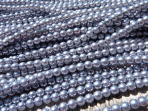 04-132-19001-70444 Shiny Silver Grey Glass Pearl 120 pc-0