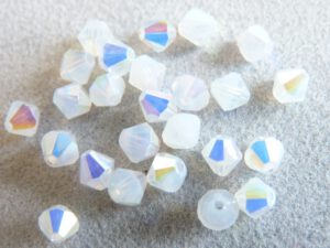 04-MC-01000-28701 Bicone, White Opal AB 4 mm. 50 Pc.-0