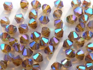 04-MC-10220-28701x2 Bicone, Light Smoked Topaz ABx2, 4 mm. 50 Pc-0