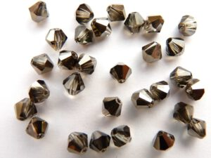 04-MC-10220-22601 Bicone, Smoked Topaz Satin, 4 mm. 50 Pc.-0