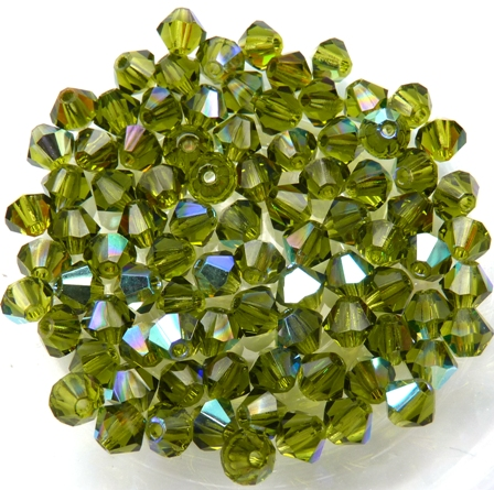 04-MC-50230-28701 Bicones Olivine AB 4mm. 50 Pc.-0
