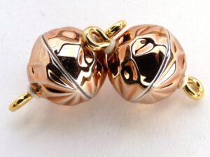 Acryl Magnetic Clasp: Barock Line Shiny Copper 10 mm.-0