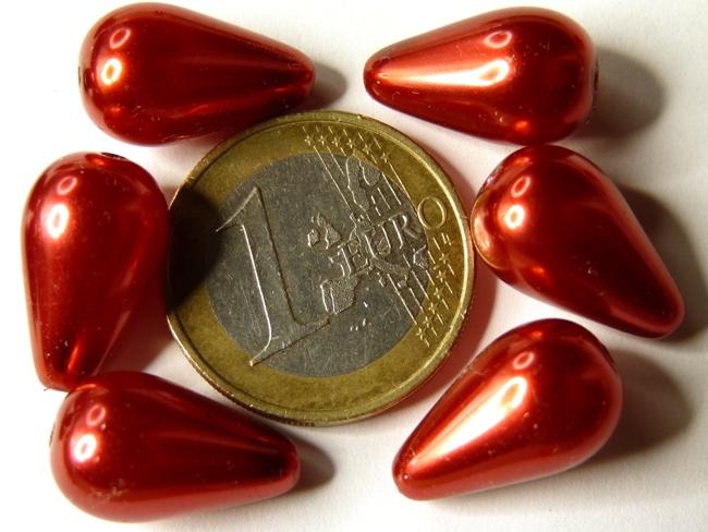 132-99205-70495 Red Pearl Drop 17 x 10.5 mm.-0