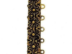 13495-05-26 Slotje met springtong mechanisme, 23 Krt Gold Old Plated-0