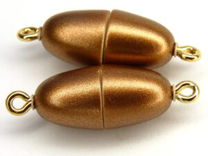 Acryl Magnetic Clasp: Oval Bronze Mat 17 x 8 mm.-0