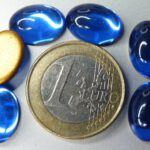 Cab-3005 Sapphire Oval Goldfoiled 14×10 mm. 6 stuks-0