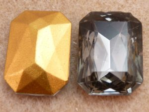40010-Oc Octagon Black Diamond Gold Foiled 25x18 mm-0