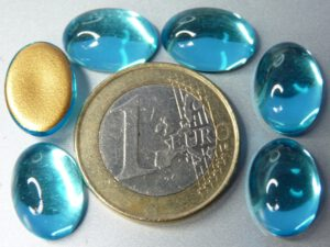 Cab-6001 Aqua Oval Goldfoiled 14x10 mm. 6 stuks-0
