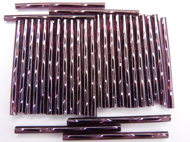 BU-27060 Twisted Bugles Silver Lined Amethyst 35 mm. 10 gram-0