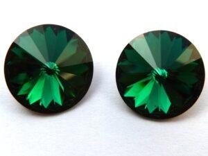 12 mm. 205 Emerald 1122 Swarovski Rivoli.-0