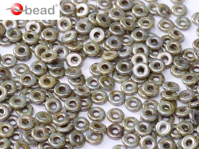 O-03000-65431 Chalk White Green/Blue Marmor Luster O bead ® 5 gram-0
