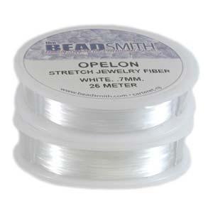 0.7 mm. Opelon Stretch White Jewelry Fiber 25 meter-0