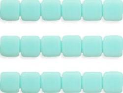 CMT-63100 CzechMates Tile Bead Opaque Pale Turquoise 18 st-0