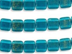 CMT-60080GM CzechMates Tile Gold Marbled-Capri Blue 20 Pc.-0