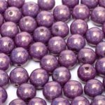 04-R-03000-15726  Chalk White-Purple-Vega Luster round 4 mm. 90 pc.-0