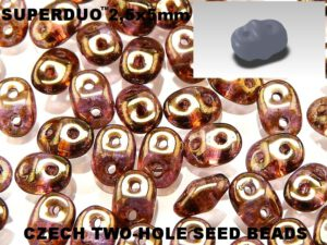 SD-00030-15695 Crystal Gold Smokey Topaz Luster Superduo-0