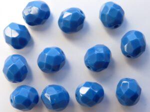 0090138 Opaque Blue facet 8 mm. 12 Pc.-0