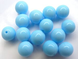 0090247 Opaque Light Blue Turquoise Round 10 mm. 14 Pc.-0