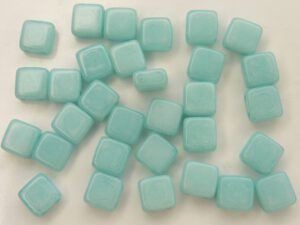 TH-03050-10015 2Hole Square, Chalk White Green Turquoise 20 Pc.-0