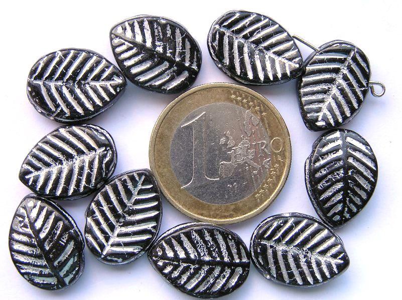 0010050 Zwart, Silver Bladvormig -0