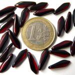 0050080 Jet-Siam Red Dagger bead 25 Pc.-0