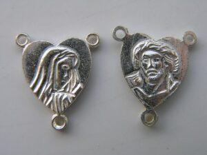 0160111 Zilver kleurig Hartvormig Rozenkrans tussenstuk 2 Pc.-0
