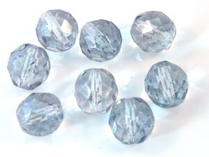 0090132 Crystal Blue Luster facet 12 mm. 6 Pc.-0