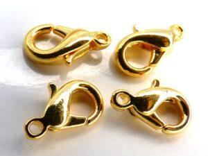 0170002 Karabijn slotjes goudkleurig, eerste keus 12 mm. 4 Pc.-0