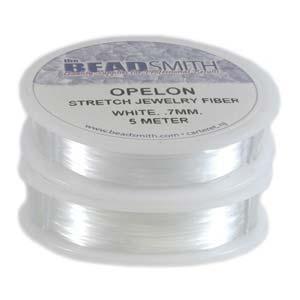 0.7 mm. Opelon Stretch White Jewelry Fiber 5 meter-0