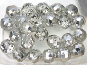 0150118 Crystal Half Silver Facet 16 mm. 3 Pc.-0