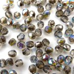 0150173 Crystal Graphite Rainbow Facet 4 mm. 50 Pc.-0