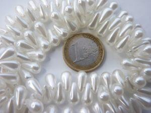 131-59-20733-70401 White Glass Pearl Drops 11 x 6 mm. 30 Pc.-0