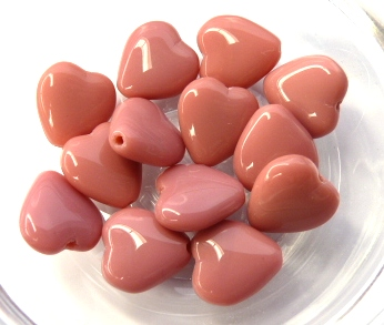 0070007 Opaque Pink Heart 7 Pc.-0