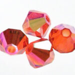 SW-03-TOREAB 5301 Red Topaz AB Swarovski Bicone 3 mm 40 Pc.-0