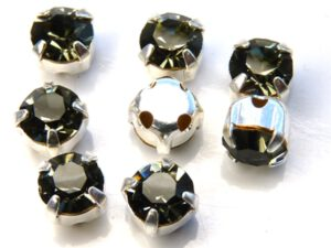 MCC-SS20-SLV-40010 MC-Chatons Black-Diamond in Silver Setting 10 Pc.-0
