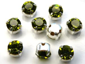 MCC-SS20-SLV-50230 MC-Chatons Olivine in Silver Setting 10 Pc.-0