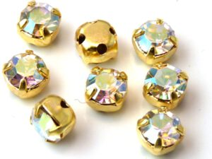 MCC-SS20-GLD-00030-28701 MC-Chatons Crystal AB in Gold Setting 10 Pc.-0