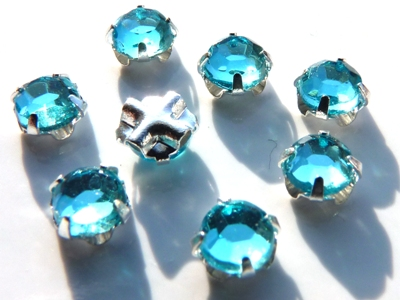 SS20-60010-Silver Extra Chaton Rose Montees Aquamarine Silver 15 Pc.-0