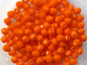 0060109 Opaque Orange Facet 3 mm. 75 Pc.-0