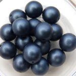 0090069 Metallic Suede Dark Blue Round 10 mm. 12 Pc.-0