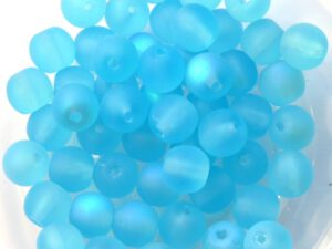 0090213 Matt Aqua Rainbow Round 6 mm. 40 Pc.-0