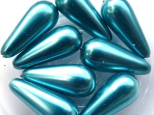 0090268 Aqua Glass Pearl Pearshape 8 Pc.-0
