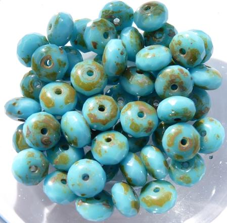 0090344 Opaque Aqua Blue Travertin Rondelle Facet 20 Pc.-0