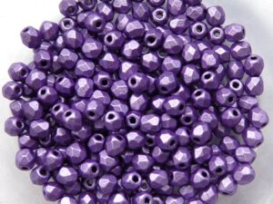 0080597 Metallic Suede Purple facet 3 mm. 50 Pc.-0