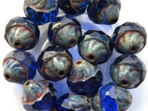 0090111 Sapphire Picasso Facet Turbine Beads 8 Pc.-0